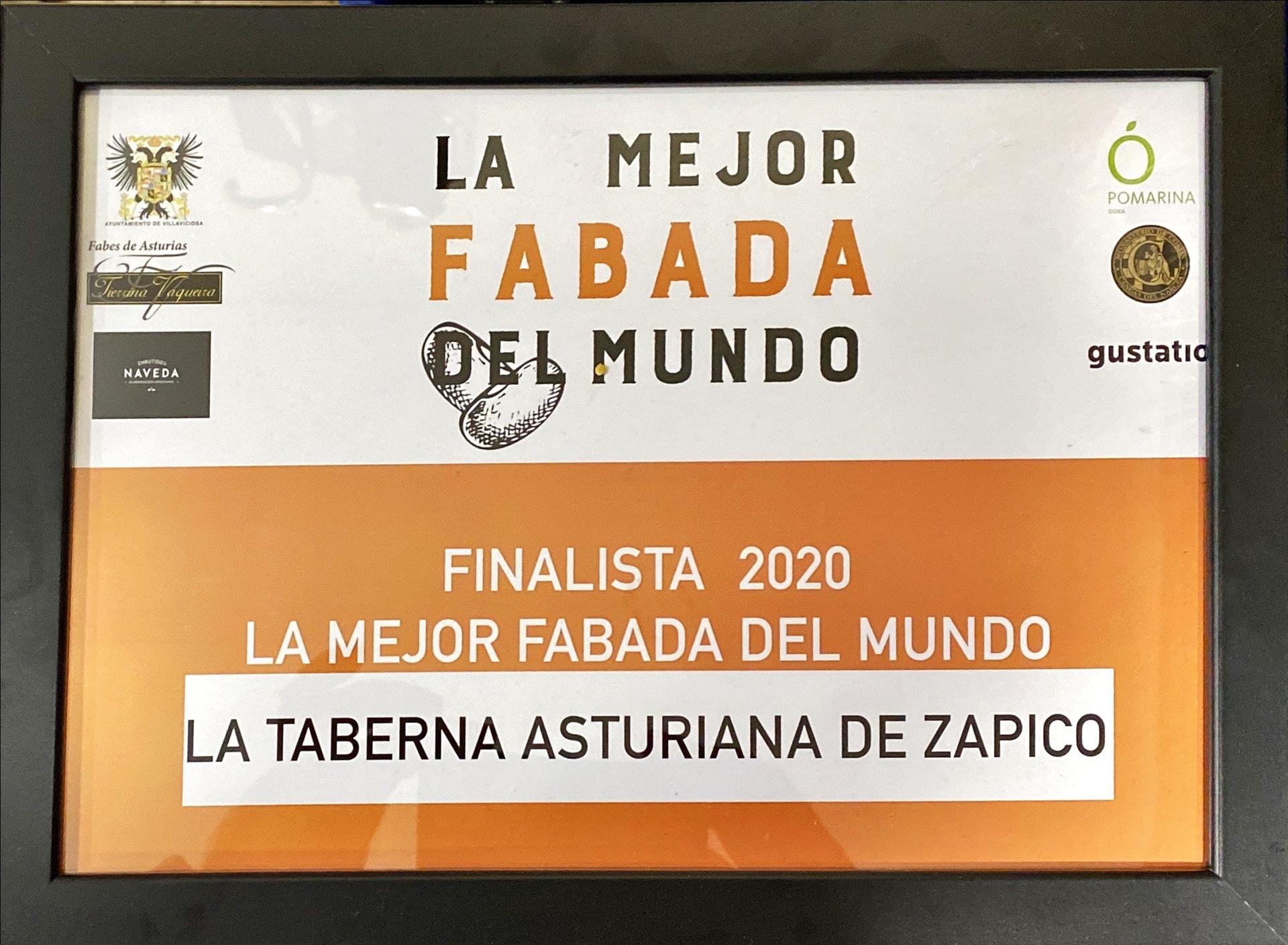 Finalista 2020 Mejor Fabada del Mundo Taberna Asturiana Zapico