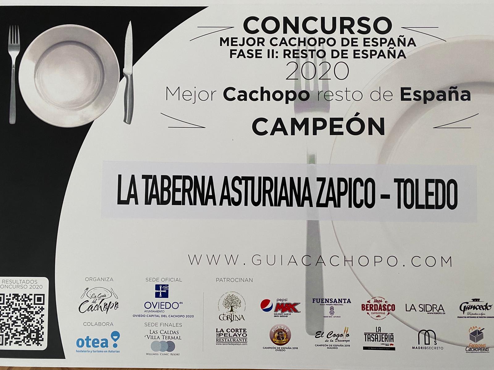 Campeón Mejor Cachopo de España 2020 - Taberna Asturiana Zapico