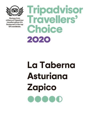 Tripadvisor Travellers Choice 2020 - Taberna Asturiana Zapico